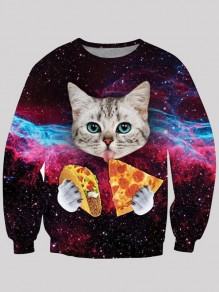 Purple Cat Galaxy Print Round Neck Long Sleeve Cute Sweatshirt