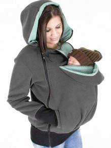 Grey Multi-functional Zipper Kangaroo Baby Bags Hooded Cardigan Sweatshirt