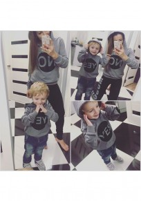Grey Monogram Print Long Sleeve Casual Children Hooded Sweatshirt