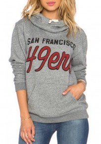 Grey Monogram Drawstring Cowl Neck Long Sleeve Hooded Sweatshirt