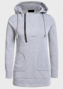 Grey Drawstring Zipper Pockets Hooded Long Sleeve Pullover Sweatshirt