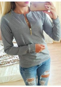 Grey Irregular Zipper Round Neck Long Sleeve Pullover Sweatshirt