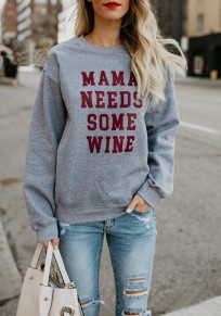 Grey Monogram Print Round Neck Casual Going Out Pullover Sweatshirt