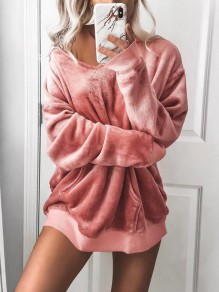 Pink Pockets Hooded Going out Casual Velvet Pullover Sweatshirt