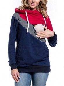 Navy Blue Color Block Pockets Breast-feeding Cowl Neck Casual Hooded Pullover Sweatshirt