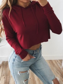 Red Drawstring Long Sleeve Casual Outdoors Going out Sweatshirt
