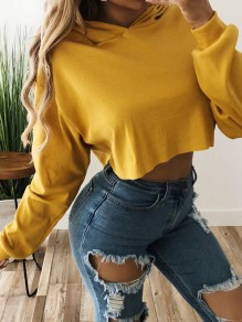 Yellow Drawstring Long Sleeve Casual Outdoors Going out Sweatshirt