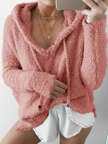 Pink Drawstring Long Sleeve Casual Teddy Pajamas Hooded Sweatshirt