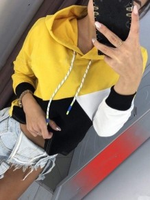 Yellow Belt Patchwork Long Sleeve Casual Hooded Sweatshirt