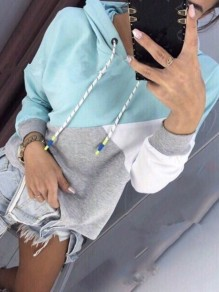 Light Blue Belt Patchwork Long Sleeve Casual Hooded Sweatshirt