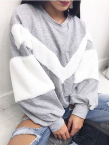 Grey Striped Fur Round Neck Long Sleeve Casual Sweatshirt