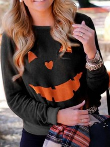Black Orange Pumpkin Print Hallowmas Round Neck Long Sleeve Funny Sweatshirt