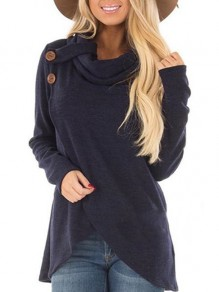 Navy Blue Buttons Collarless Long Sleeve Fashion Sweatshirt