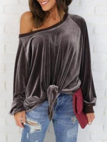 Brown Plain Oblique Shoulder Going out Casual Cardigan Sweatshirt