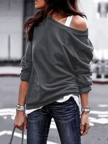 Grey One Off Shoulder Slouchy Long Sleeve Casual Cardigan Sweatshirt