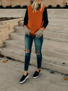 Orange-Black Parthwork Long Sleeve Round Neck Casual Cardigan Sweatshirt