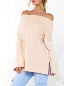 Pink Off Shoulder Bandeau Slit Long Sleeve Casual Cardigan Sweatshirt