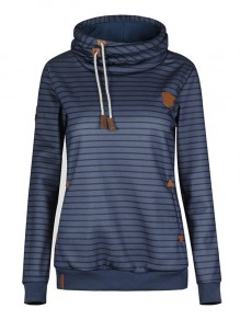 Dark Blue Striped Drawstring Hooded Long Sleeve Casual Sweatshirt