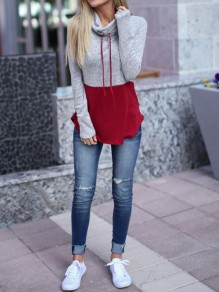 Grey-Red Patchwork Drawstring Cowl Neck Long Sleeve Casual Pullover Sweatshirt