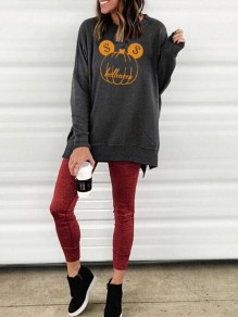Grey Cartoon Pumpkin Pattern Double Slit Halloween Oversized Casual Pullover Sweatshirt