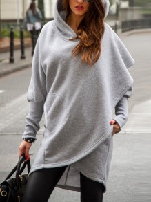Grey Pockets Long Sleeve Casual Going out Sweet Sweatshirt