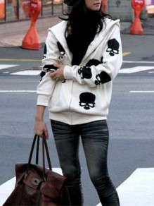 White Skull Print Zipper Fashion Hooded Skeleton Sweatshirt