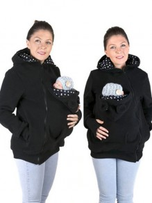 Black Polka Dot Zipper Multi-Functional Kangaroo Baby Bags Casual Sweatshirt