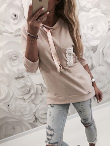 Pink Patchwork Lace Lace-up Long Sleeve Fashion Pullover Sweatshirt