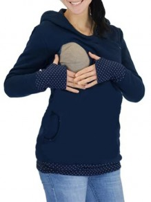 Blue Polka Dot Cut Out Pockets Zipper Hooded Casual Maternity Sweatshirt