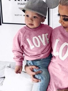 Pink Letter Print Round Neck Long Sleeve Baby Going out Sweatshirt