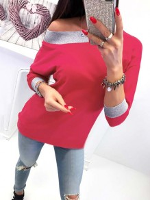 Red Patchwork Asymmetric Shoulder Long Sleeve Casual Sweatshirt