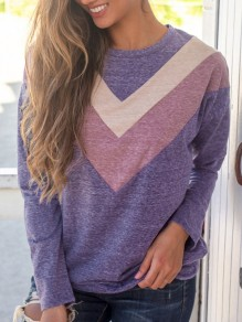 Purple Patchwork Round Neck Long Sleeve Casual Sweatshirt