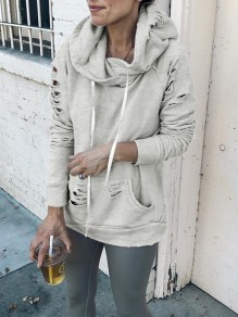 Grey Cut Out Pockets Drawstring Hooded Long Sleeve Casual Sweatshirt