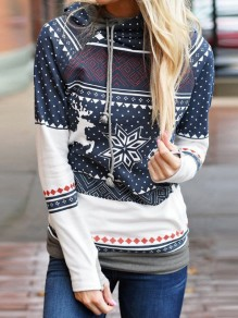 Blue Floral Polka Dot Elk Snowflake Print Hooded Long Sleeve Casual Sweatshirt