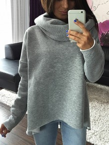 Grey Irregular Long Sleeve Casual Sweet Going out Sweatshirt