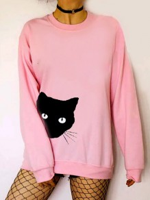 Pink Cartoon Cat Pattern Round Neck Long Sleeve Cute Pullover Sweater