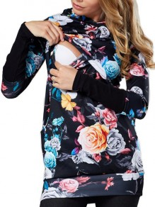 Black Floral Print Hooded Long Sleeve Casual Maternity Sweatshirt