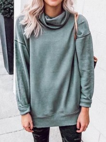 Green Cowl Neck Long Sleeve Oversize Casual Sweatshirt
