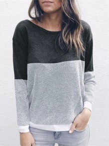 Grey Color Block Cross Back Backless U-neck Fashion Sweatshirt