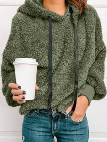Green Patchwork Drawstring Hooded Going out Sweatshirt