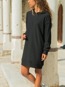 Black Draped Hooded Long Sleeve Casual Sweatshirt