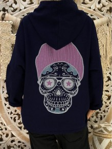 Blue Patchwork Print Hooded Fashion Sweatshirt