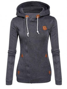 Dark Grey Geometric Print Drawstring Zipper Hooded Long Sleeve Casual Sweatshirt