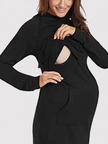 Black Pockets Drawstring Hooded Long Sleeve Maternity Sweatshirt
