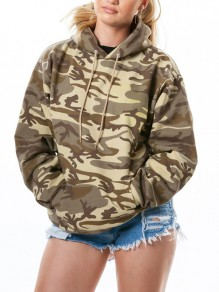 Beige Camouflage Pockets Drawstring Hooded Long Sleeve Casual Sweatshirt