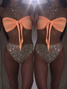 Orange Patchwork Bandeau 2-in-1 Rhinestone Sexy Swimwear