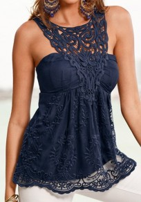Blue Patchwork Lace Round Neck Cotton Vest