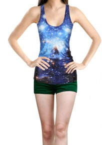 Blue Colorful Van Gogh Starry Night Print Round Neck Casual Dacron Vest