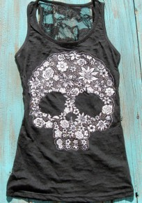 Black Patchwork Lace Hollow-out Skull Print Plus Size Vest