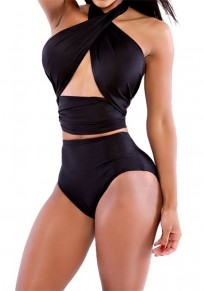 Black 2-in-1 Cut Out Tie Back Halter Neck Open Back Swimwear